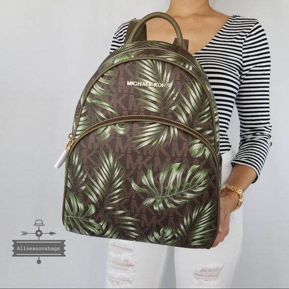 1913ebc484e2 Michael Kors Bags | Abbey Medium Palm Leaves Backpack Bag | Poshmark